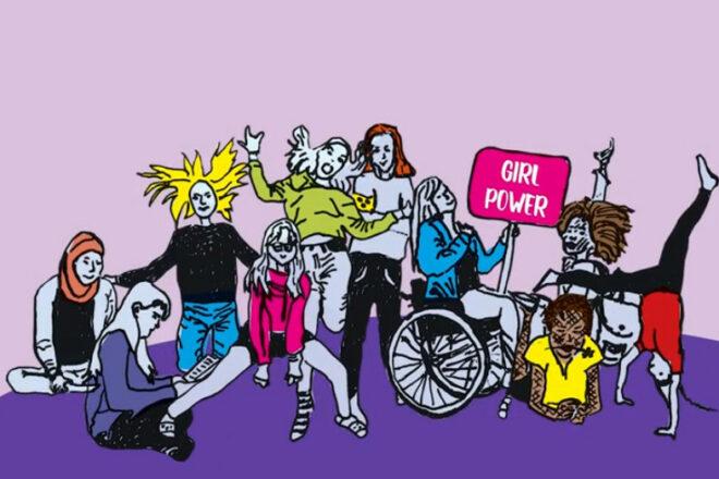 """Eine Szene aus einem Cartoon bei dem viele Mädchen unterschiedlicher Herkunft, mit und hne Behinderung und unterschiedlichen Alters zusammen stehen und ein Schid hochhalten, auf dem """"Girl Power"""" steht"""